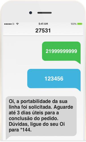 Tela de celular do novo Chip da Oi recebendo um SMS confirmando que a portabilidade Oi foi solicitada