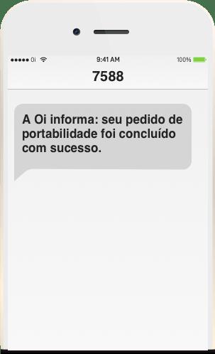 Tela de celular do novo Chip da Oi recebendo o SMS de confirmação da conclusão da sua portabilidade Oi